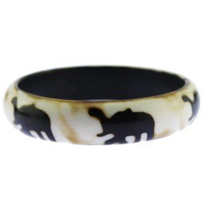 White and Brown Elephant Bangle Bracelet